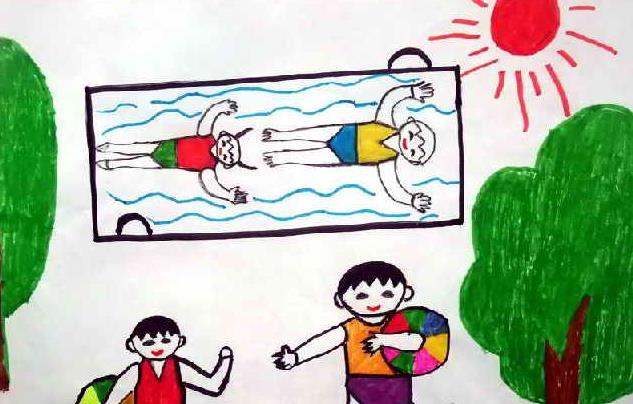 游泳-水彩画图集图片_儿童水彩画_少儿图库_中国儿童