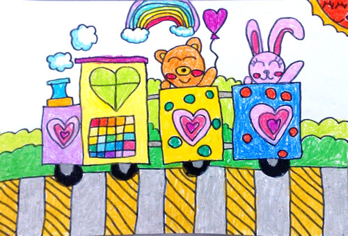 火车-水彩画图集图片_儿童水彩画_少儿图库_中国儿童