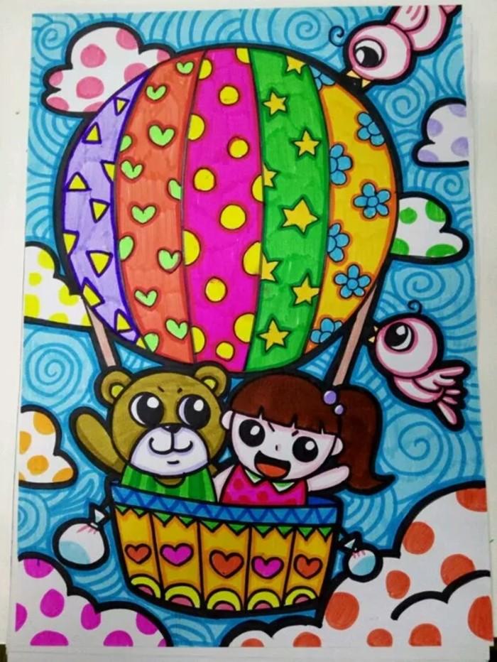 热气球-水彩画图集图片_儿童水彩画_少儿图库_中国图片