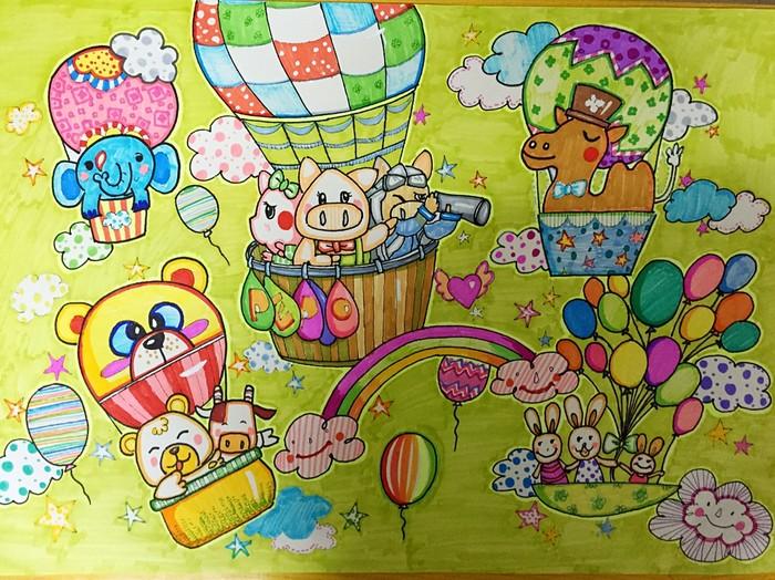 热气球-水彩画图集图片