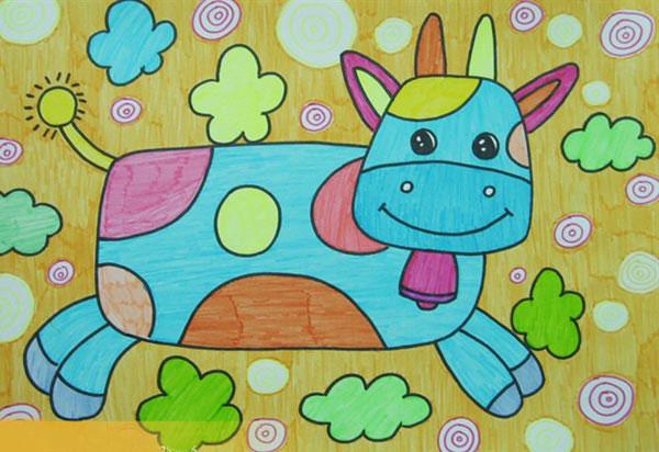 牛-水彩画图集图片_儿童水彩画_少儿图库_中国儿童