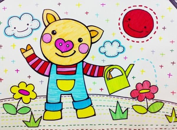 猪-水彩画图集图片_儿童水彩画_少儿图库_中国儿童