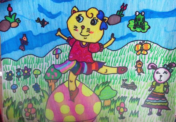 可爱的猫咪儿童画