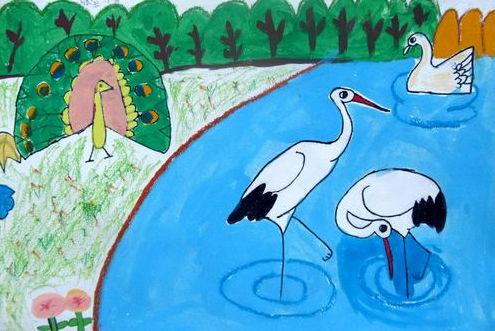 白鹤-水彩画图集图片_儿童水彩画_少儿图库_中国儿童