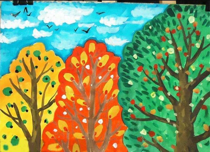 秋天丰收水彩画