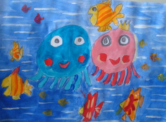 章鱼-水彩画图集