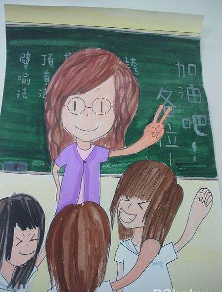 手绘感恩教师画