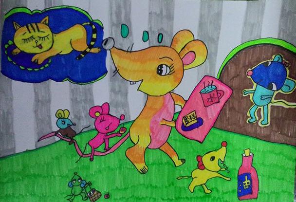 老鼠-水彩画图集图片_儿童水彩画