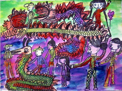 舞龙狮-水彩画图集图片_儿童水彩画_少儿图库_中国