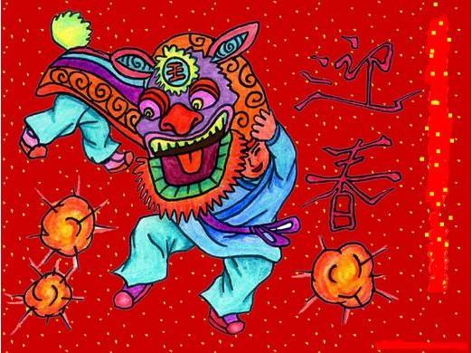 舞龙狮-水彩画图集