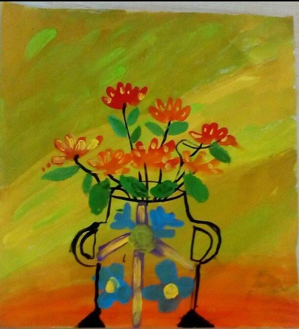 花瓶水彩画