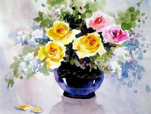 花瓶-水彩画图集