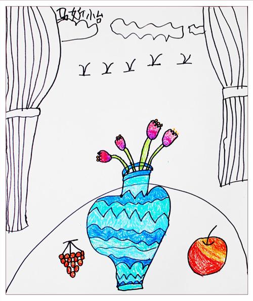 水彩画 花瓶
