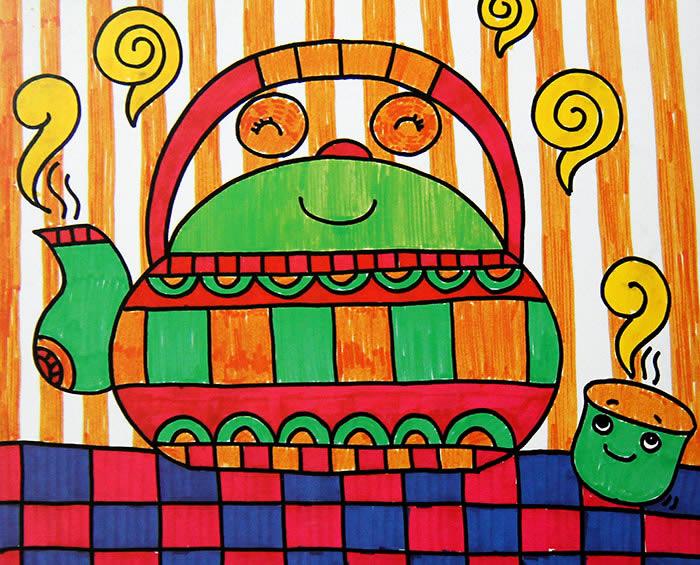 茶壶-水彩画图集图片_儿童水彩画_少儿图库_中国儿童图片