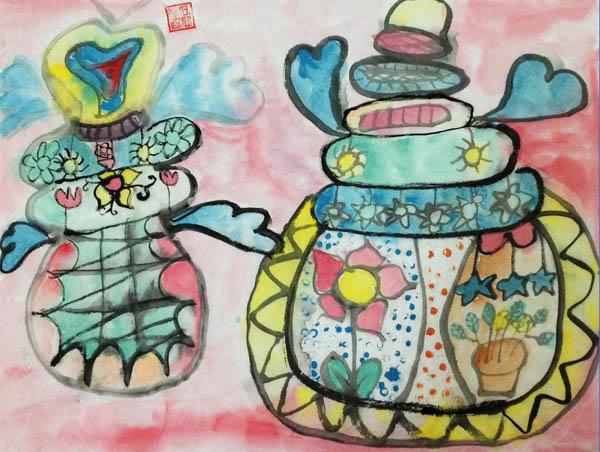 茶壶-水彩画图集图片_儿童水彩画_少儿图库_中国儿童