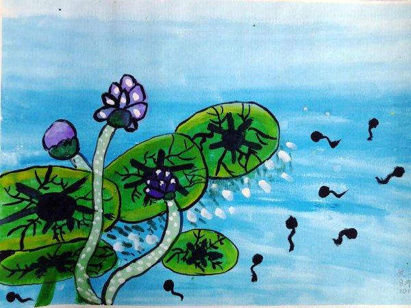 荷叶蝌蚪手绘