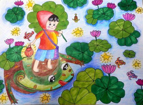 荷花-水彩画图集图片_儿童水彩画_少儿图库_中国儿童