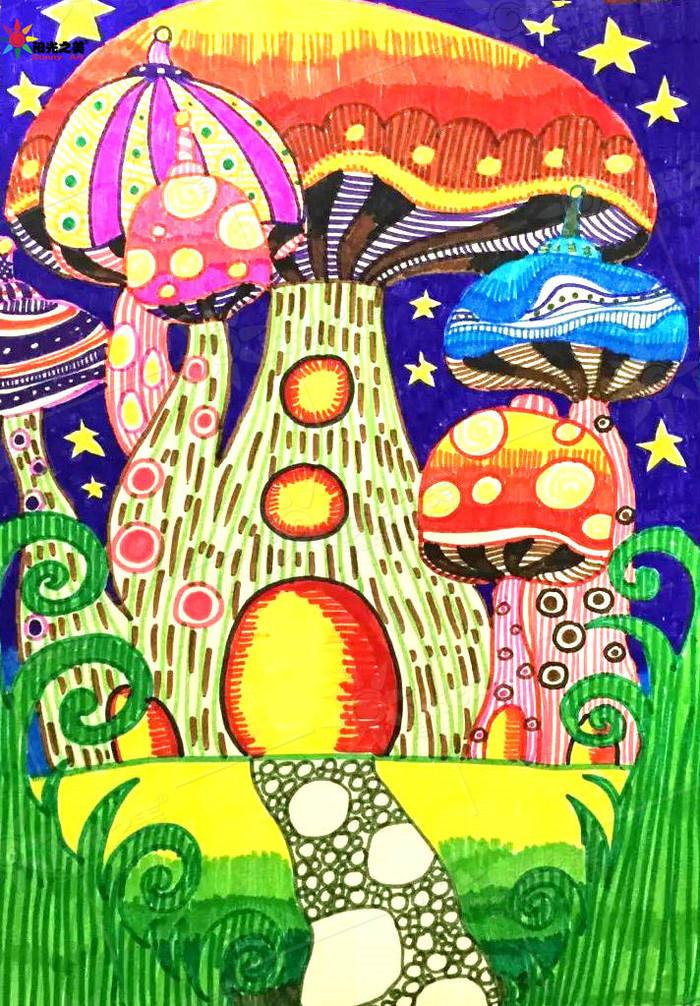 蘑菇-水彩画图集图片_儿童水彩画_少儿图库_中国儿童
