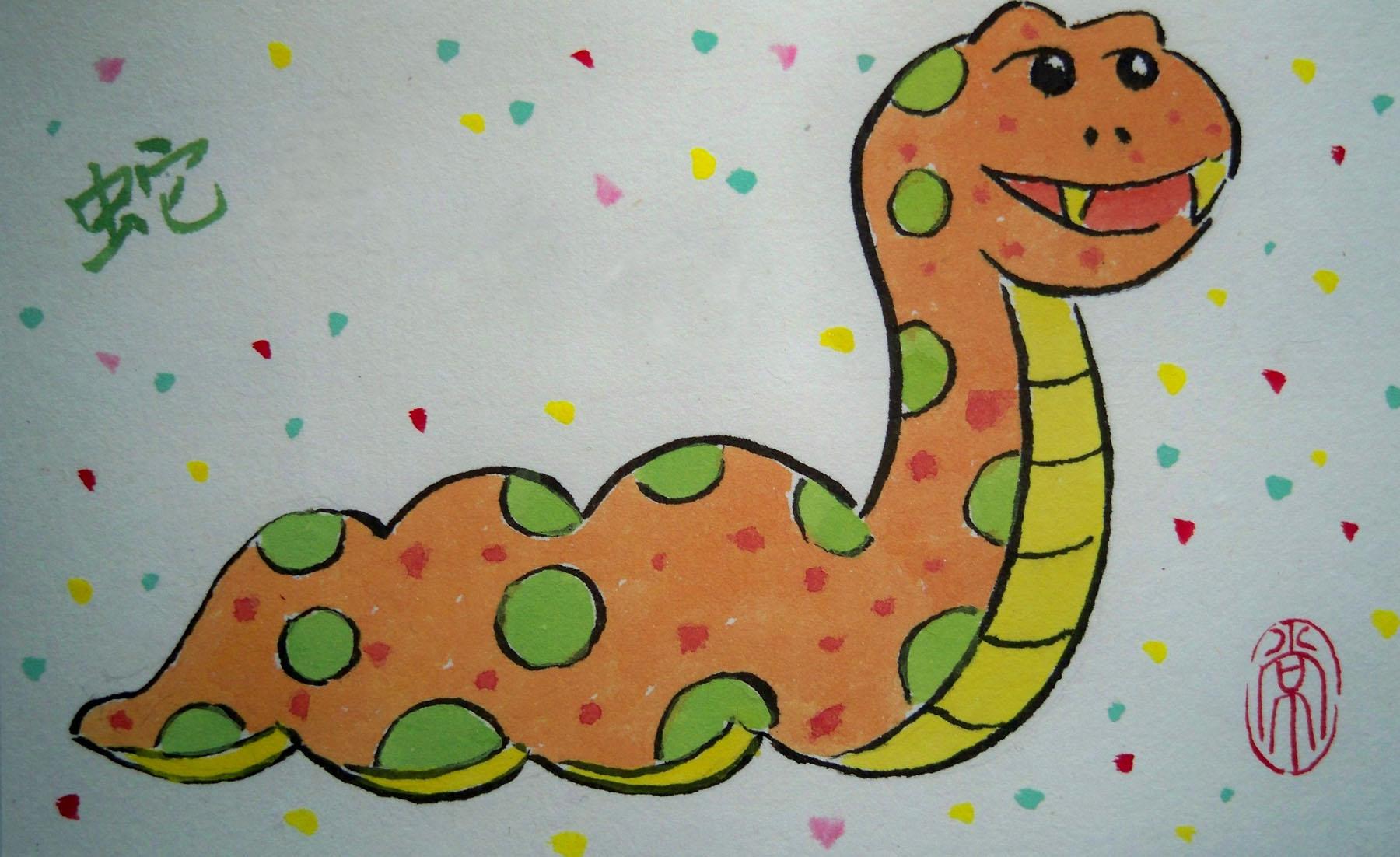 水粉画蛇-儿童画手绘水彩画图片大全 动力火车