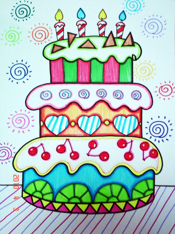 蛋糕-水彩画图集图片_儿童水彩画_少儿图库_中国儿童