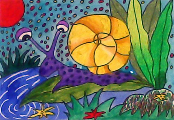 蜗牛-水彩画图集图片_儿童水彩画