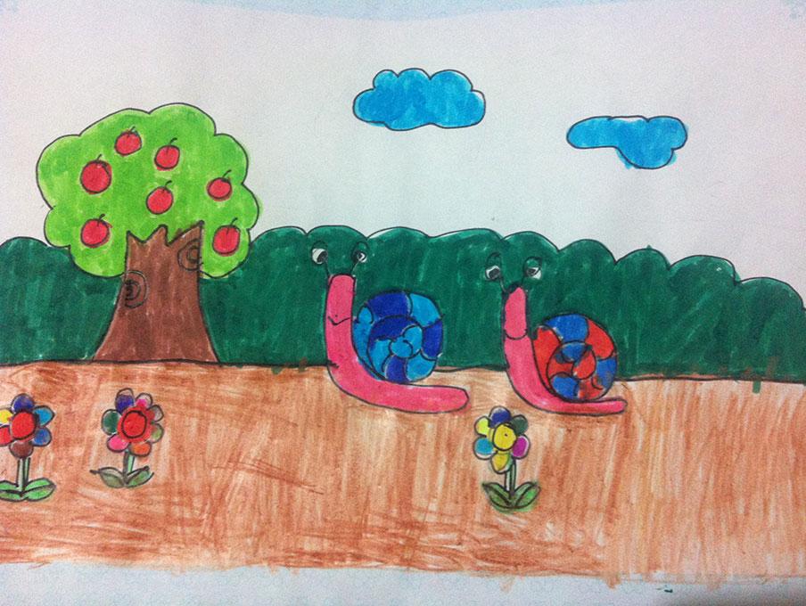蜗牛-水彩画图集图片_儿童水彩画_少儿图库_中国儿童