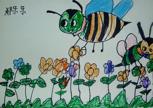 蜜蜂-水彩画图集图片_儿童水彩画