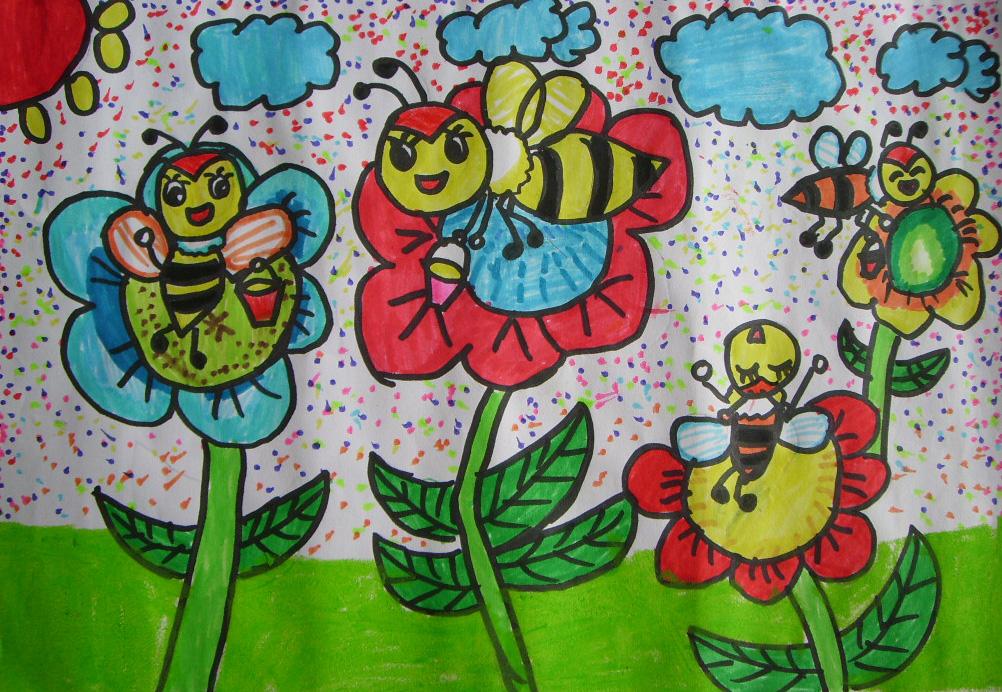 蜜蜂-水彩画图集