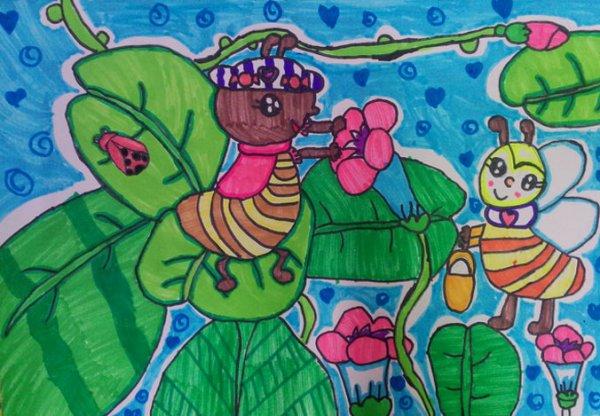 蜜蜂-水彩画图集图片_儿童水彩画_少儿图库_中国儿童
