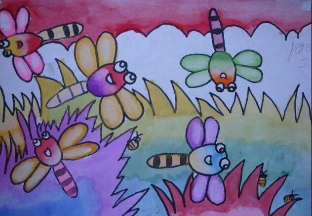 蜻蜓-水彩画图集图片_儿童水彩画_少儿图库_中国儿童