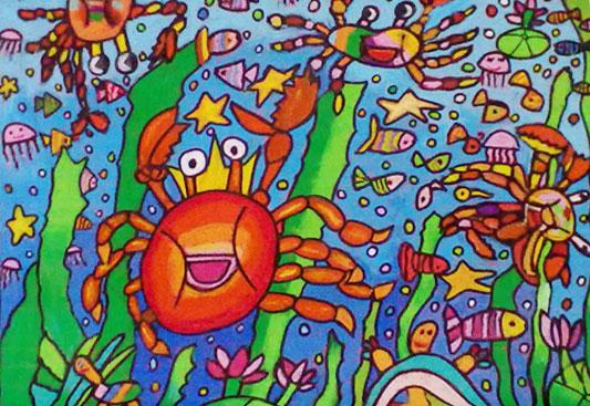 拿彩笔画的海底世界