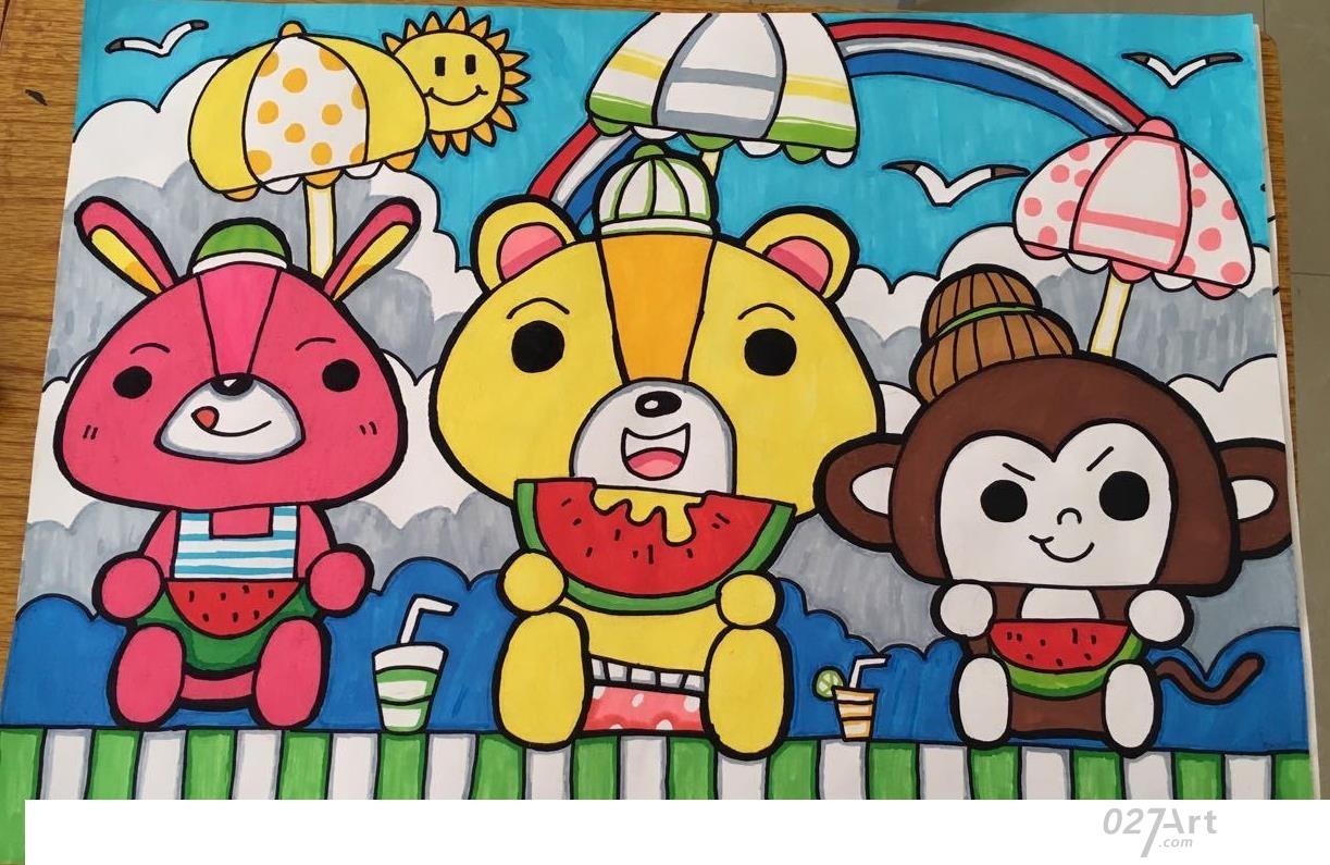 西瓜-水彩画图集图片_儿童水彩画_少儿图库_中国儿童