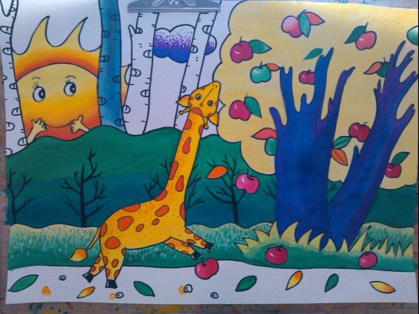 长颈鹿-水彩画图集图片_儿童水彩画_少儿图库_中国
