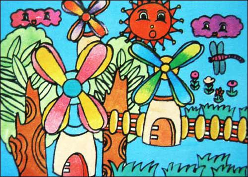 风车-水彩画图集图片_儿童水彩画_少儿图库_中国儿童图片