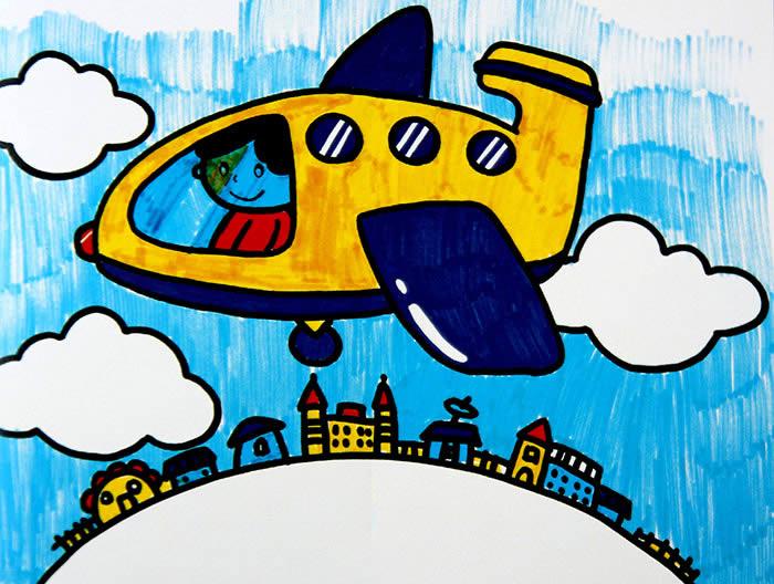 飞机画画儿童画
