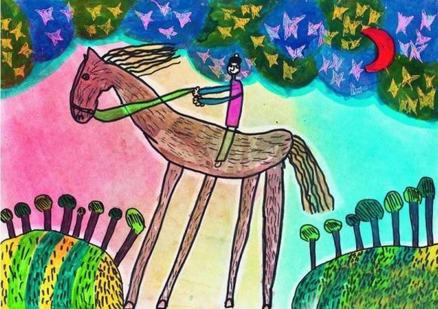 骑马-水彩画图集