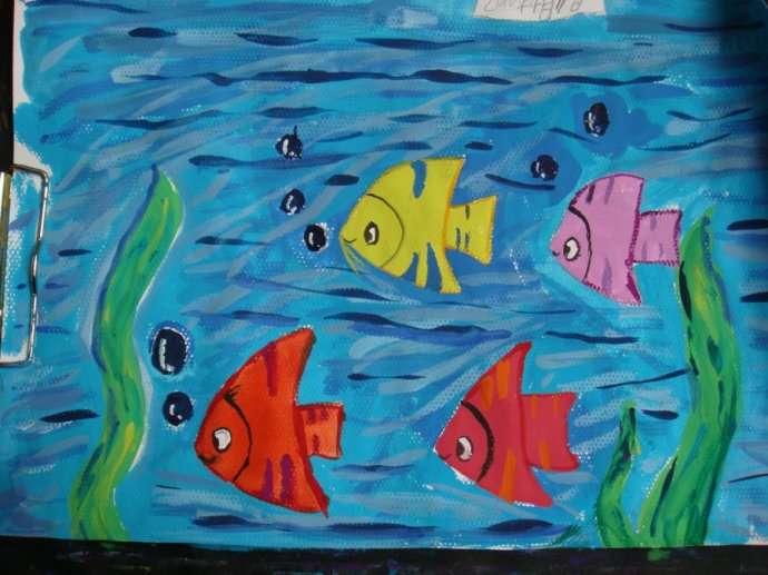 儿童水彩画 鱼