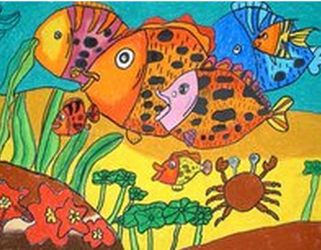 鱼-水彩画图集图片_儿童水彩画