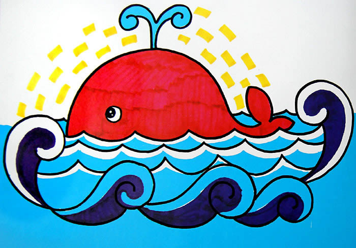 鲸鱼-水彩画图集图片_儿童水彩画_少儿图库_中国儿童