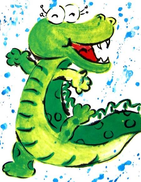 鳄鱼-水彩画图集图片_儿童水彩画_少儿图库_中国儿童