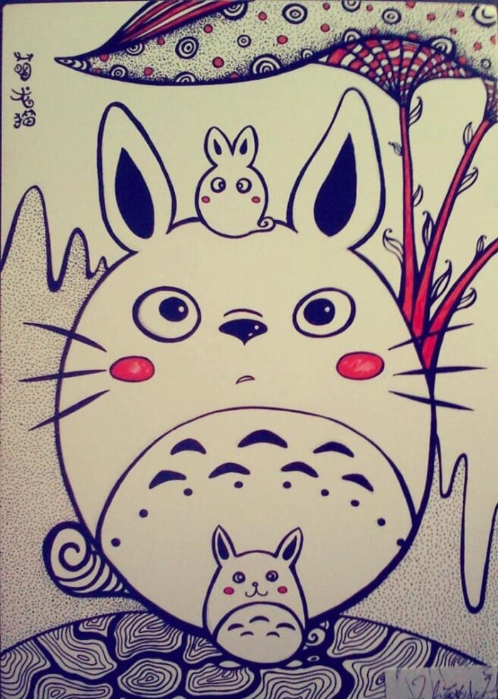 手绘水彩画龙猫