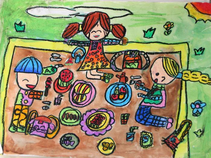 一家人-蜡笔画图集图片