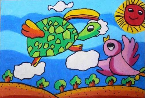 乌龟-蜡笔画图集