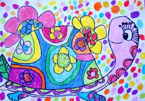 乌龟-蜡笔画图集图片_儿童蜡笔画_少儿图库_中国儿童