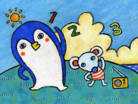 企鹅-蜡笔画图集