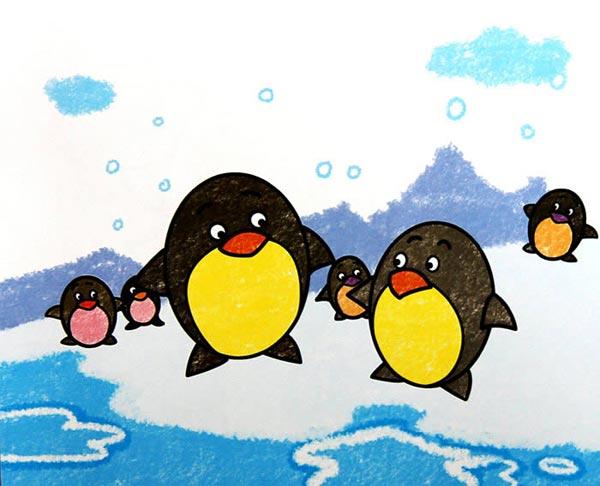 企鹅-蜡笔画图集图片_儿童蜡笔画_少儿图库_中国儿童