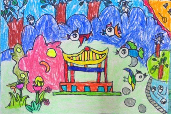 四年级动物风景画画