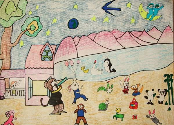 动物-蜡笔画图集图片_儿童蜡笔画_少儿图库_中国儿童