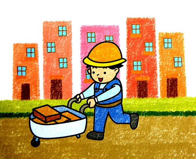 劳动-蜡笔画图集图片_儿童蜡笔画_少儿图库_中国儿童