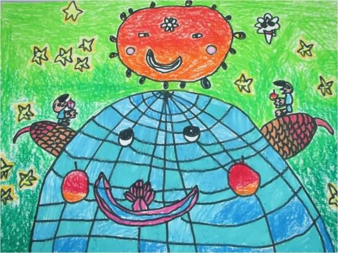 地球-蜡笔画图集图片_儿童蜡笔画_少儿图库_中国儿童-地球环保主题